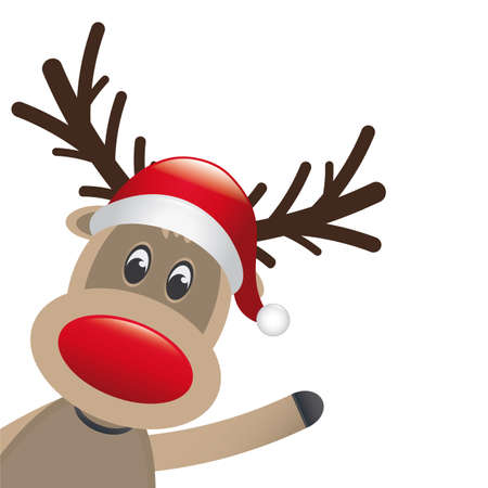 rudolph the red nosed reindeer: reindeer red nose and hat scarf wave