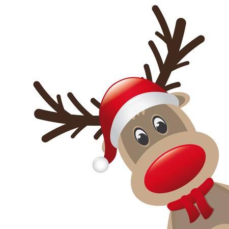 reindeer: reno nariz roja y un sombrero bufanda paisaje Vectores