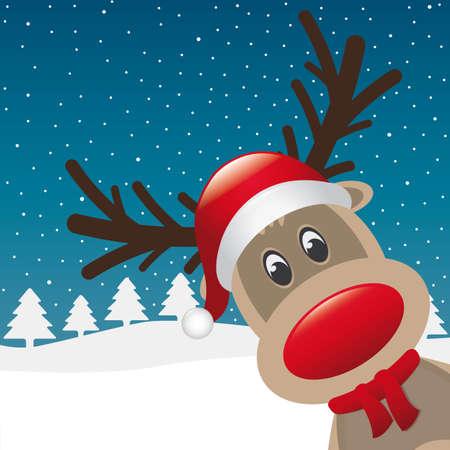 nariz roja: reno nariz roja y un sombrero bufanda paisaje Vectores