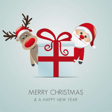 suprise: reindeer santa claus christmas gift box red Illustration