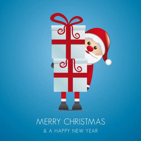 santa hold gift boxes with red ribbon Vector