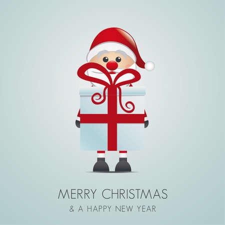 santa hold gift box with red ribbon Stock Vector - 15995006