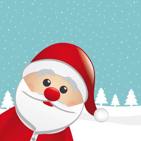 santa clause: santa claus snowy winter landscape blue background