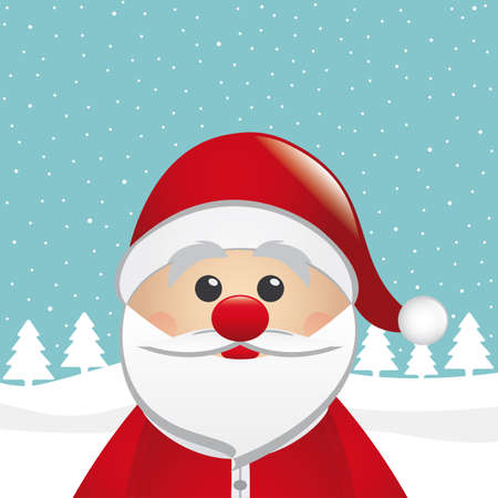 santa claus snowy winter landscape blue background Vector