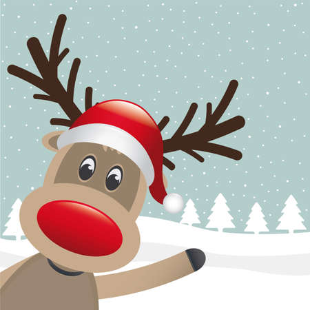 reindeer hat wave hand on winter landscape Vector