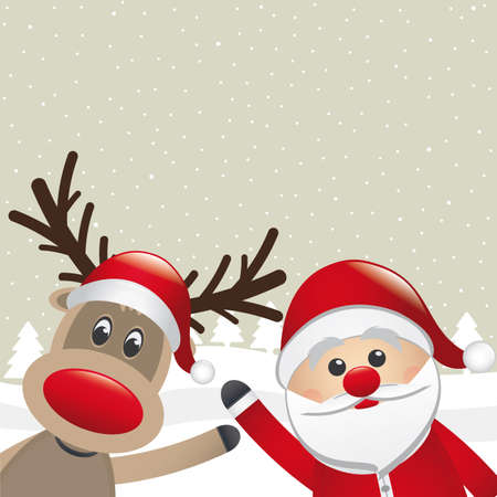 cartoon reindeer: santa claus and reindeer wave hands landscape