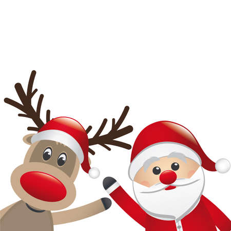 santa claus and reindeer wave hands isolated