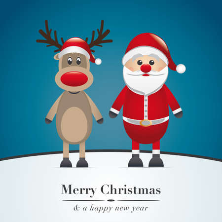santa claus and reindeer on blue background Vector
