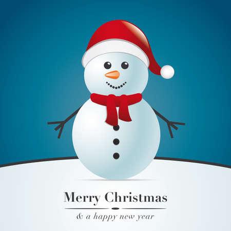 bonhomme de neige avec écharpe et chapeau de Père Noël