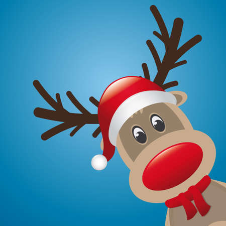 cartoon reindeer: reindeer red nose with hat and scarf Illustration