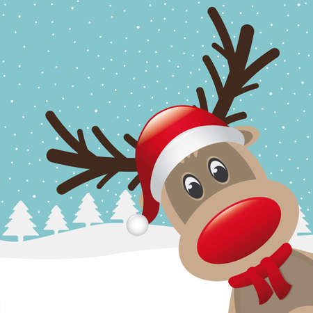 santas reindeer: reindeer red nose with hat and scarf Illustration