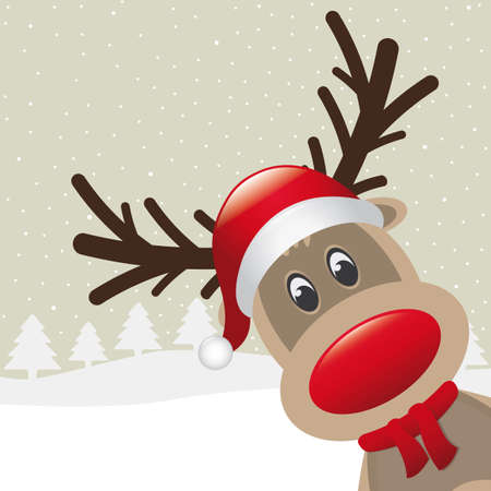 nosed: reindeer red nose with hat and scarf Illustration