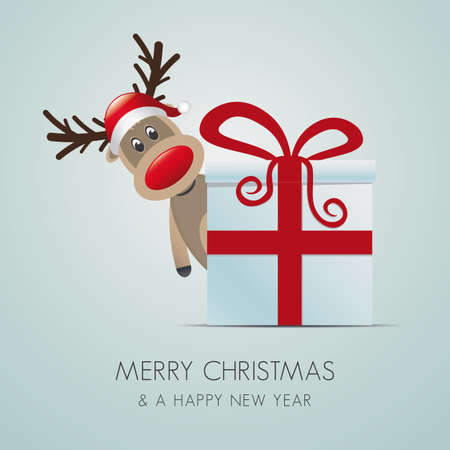 reindeer christmas gift box with red ribbon Stock Vector - 15995012