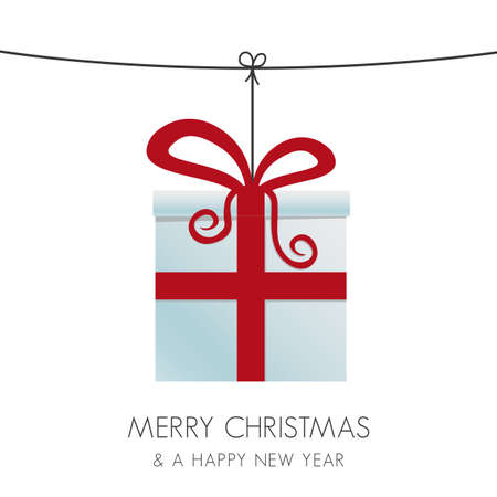 christmas gift box hanging on a twine Stock Vector - 15994973