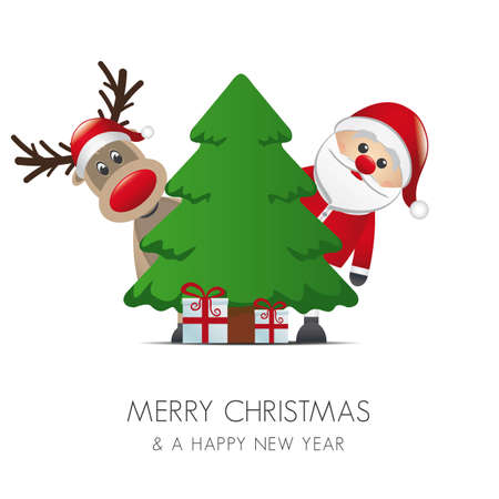 reindeer santa claus christmas gift box tree Vector