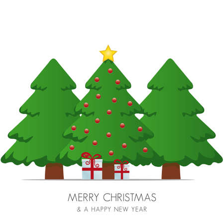 suprise: christmas tree gift box and gold star