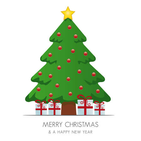 christmas tree gift box and gold star Stock Vector - 15994985