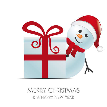 snowman with santa hat behind gift box Vector
