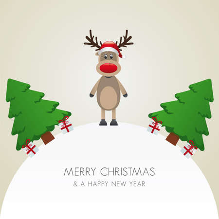 reindeer hat christmas tree and gift world Vector
