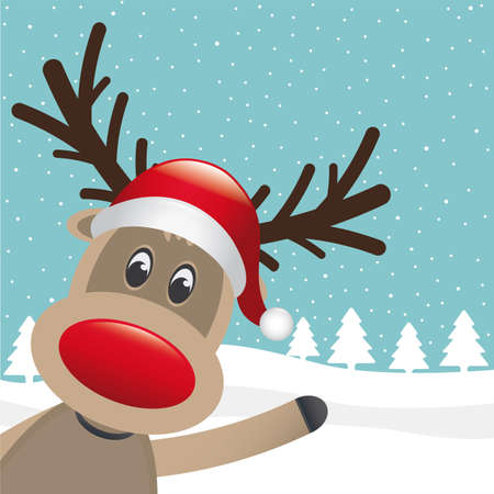 reindeer santa hat wave hand winter landscape Vector