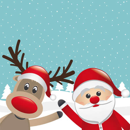 santa claus and reindeer wave winter landscape Vector