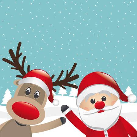 red nosed reindeer: santa claus and reindeer wave winter landscape Illustration