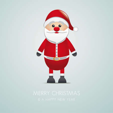santa claus merry christmas type blue background Ilustração