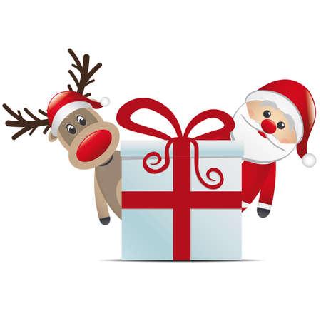 nariz roja: reno santa claus christmas gift box rojo