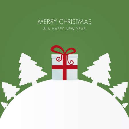 weihnachten tanne: Geschenk-Box red white christmas tree Welt