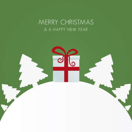 christmas backgrounds: gift box red white christmas tree world