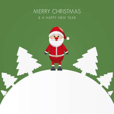 santa claus christmas white tree background world Stock Vector - 16068160