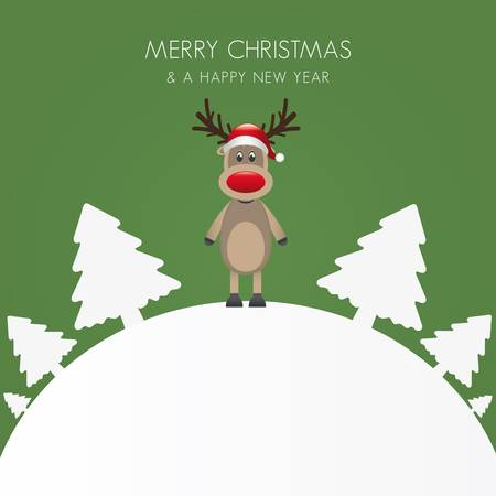 reindeer hat christmas white tree background world Vector