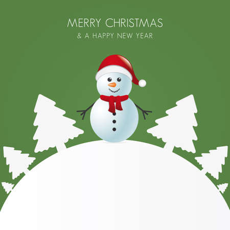 snowman with scarf white tree background world Stock Vector - 16068162