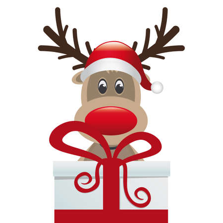 reindeer behind gift box red white ribbon Vector