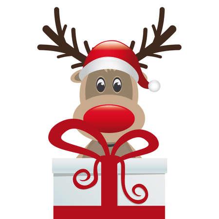 red nosed reindeer: reindeer behind gift box red white ribbon