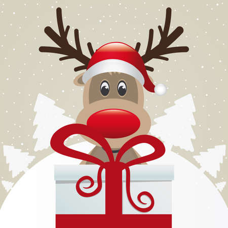 reindeer behind gift box red white ribbon Stock Vector - 16068172