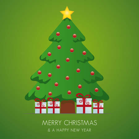 fir tree balls: christmas tree gift box and gold star