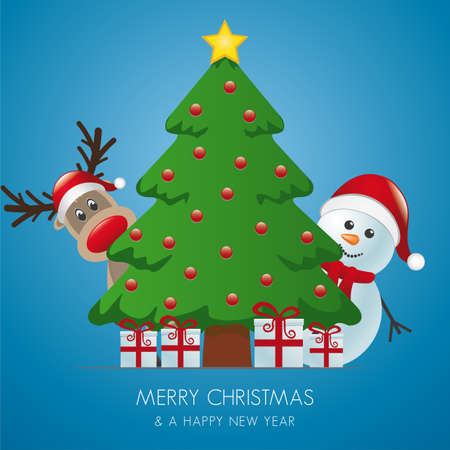 reindeer and snowman behind christmas tree gifts Vector