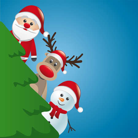 santa reindeer and snowman behind christmas tree Stock Vector - 16068202