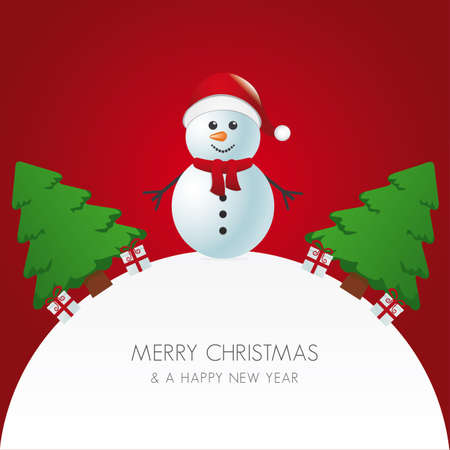 snowman hat christmas tree and gift world Vector