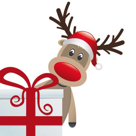 nariz roja: reno detrás de regalo cuadro rojo blanco cinta