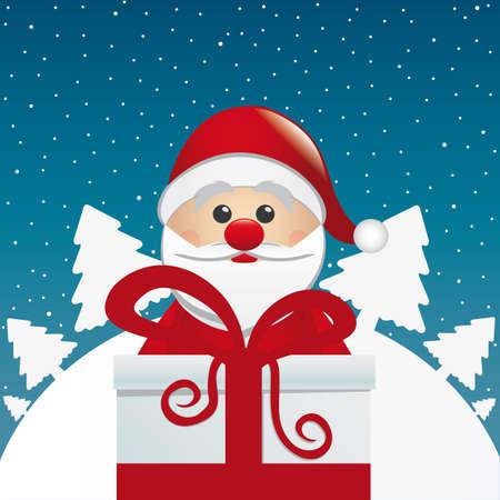 nosed: santa behind gift box white winter landscape Illustration