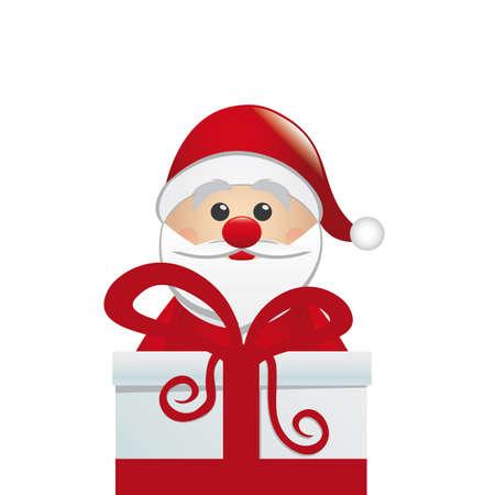christmas card background: santa behind gift box white isolated background