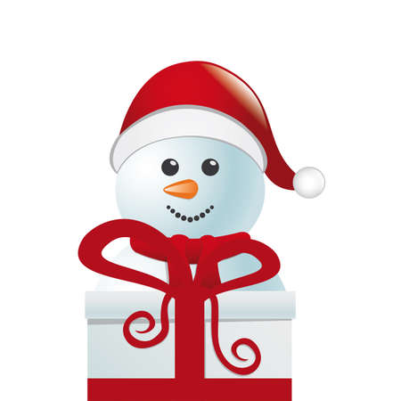 snowball: snowman behind gift box white winter landscape