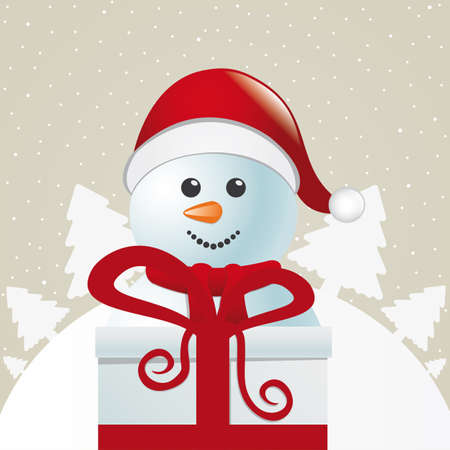 snowman behind gift box white winter landscape Vector