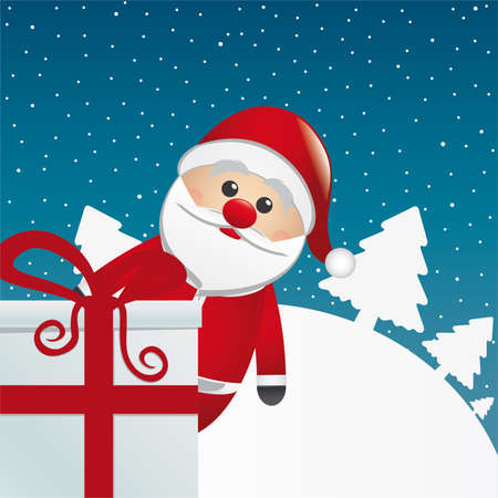 santa behind gift box white winter landscape Vector