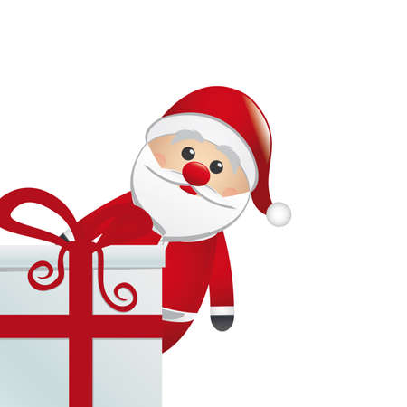 santa behind gift box white isolated background