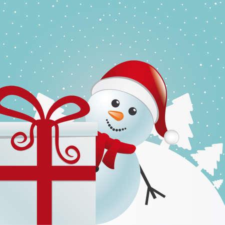 snowman behind gift box white winter landscape
