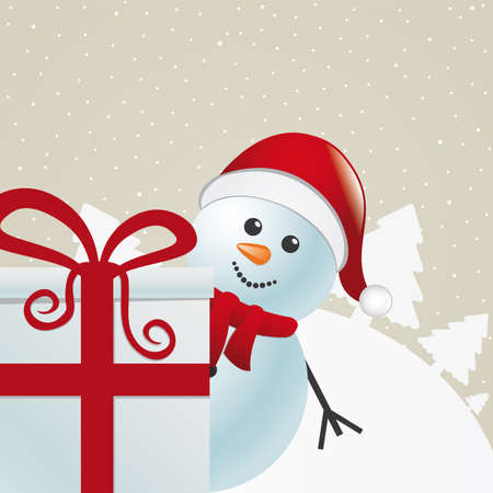 snowman behind gift box white winter landscape Stock Vector - 16068373