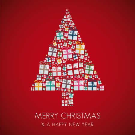 molti di regalo colorato albero di Natale dello stack